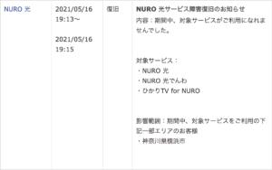 NURO光の通信障害
